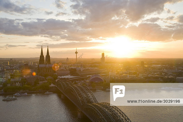 Germany  Cologne  Hohenzollern bridge and Cologne Cathedral