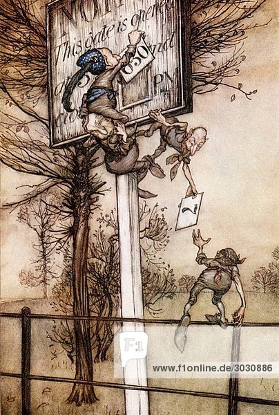These tricky fairies sometimes change the board on a ball night Coloured illustration by Arthur Rackham from the book Peter Pan in Kensington Gardens by J M Barrie published 1910