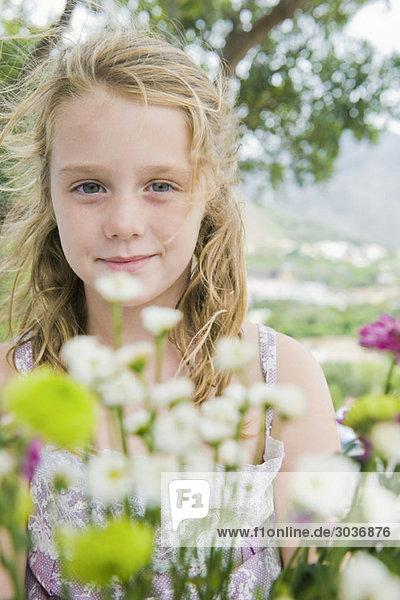 Portrait eines Mädchens mit Blumen
