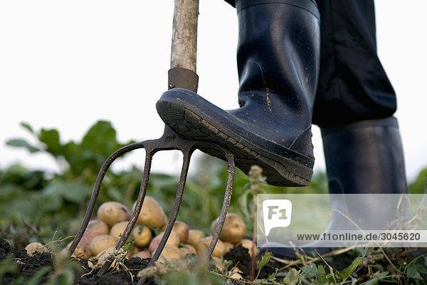 Detail der Farmer in Latex Stiefel mit pitchfork Detail der Farmer in Latex Stiefel mit pitchfork
