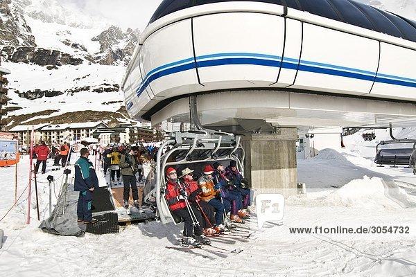 Skilift Breuil-Cervinia Aostatal Italien