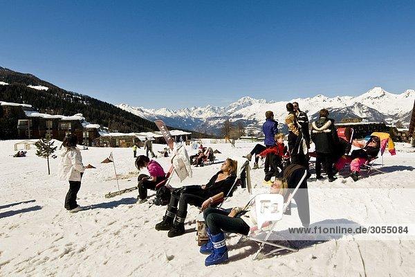 Skilift Pila Piemont Aostatal Italien