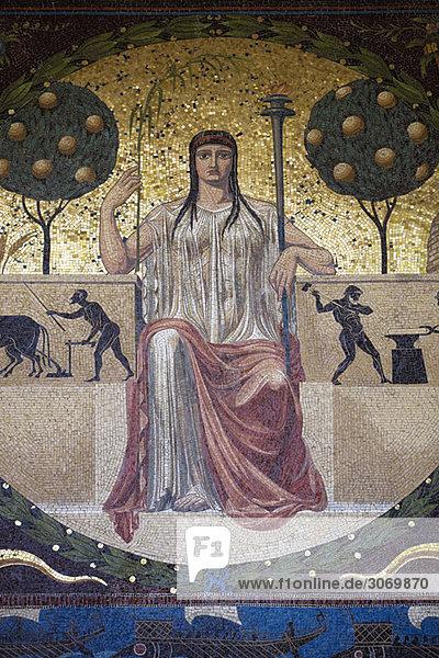 Mosaic below Friedensengel  Munich  Bavaria  Germany