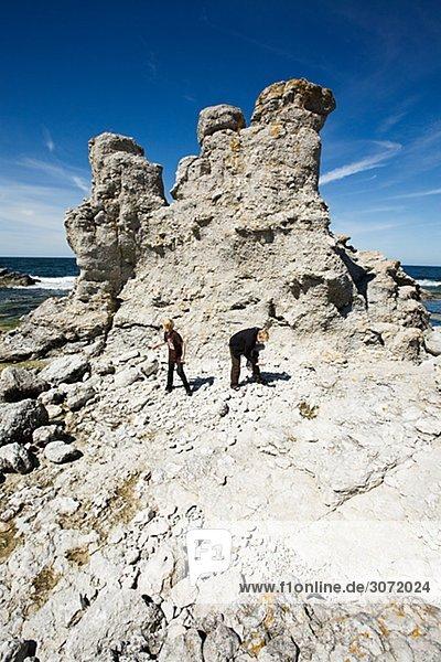 Raukgebiet auf der Insel Faro Gotland-Schweden.