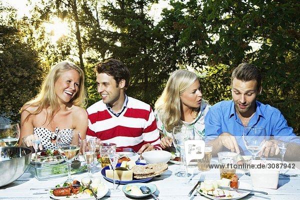 Abendessen für vier Personen
