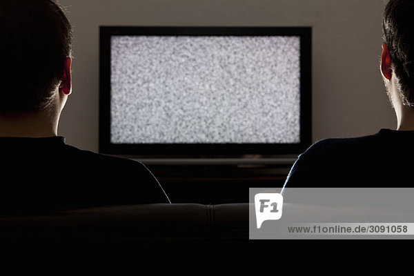 Two men watching a static on a television