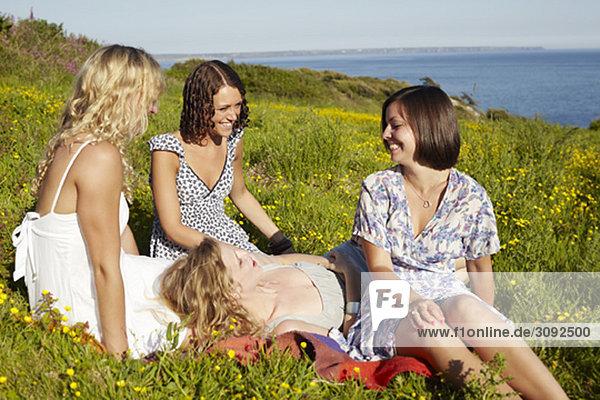 vier Mädchen auf einem Feld am Meer