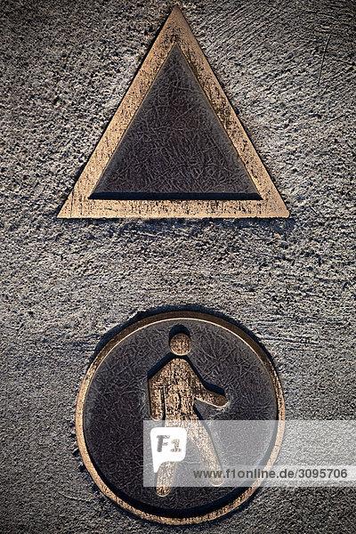 Nahaufnahme eines Zeichens Fußgängerüberweg,  San Francisco,  Kalifornien,  USA