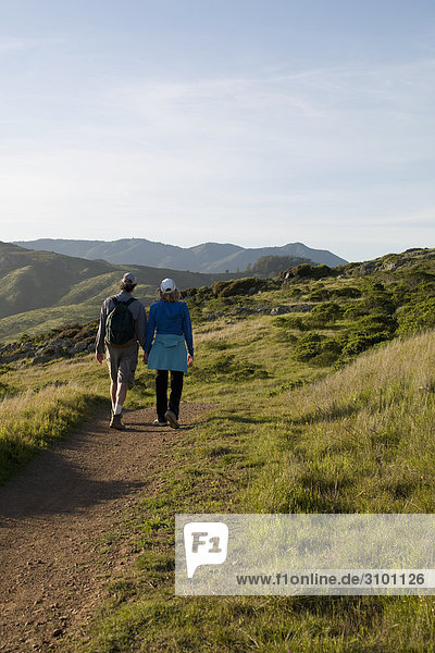Rear view of two hikers walking on a footpath