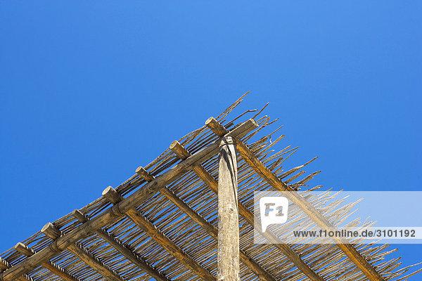 Dach niedrig Himmel blau Ansicht Flachwinkelansicht Reetdach Winkel