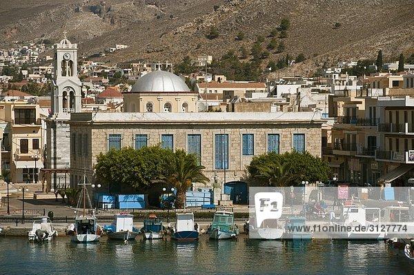 Blick auf Kalymnos  Boote am Ufer  Griechenland  Vogelperspektive