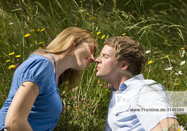 Mann  Frau im Gras küssend mit Blumen
