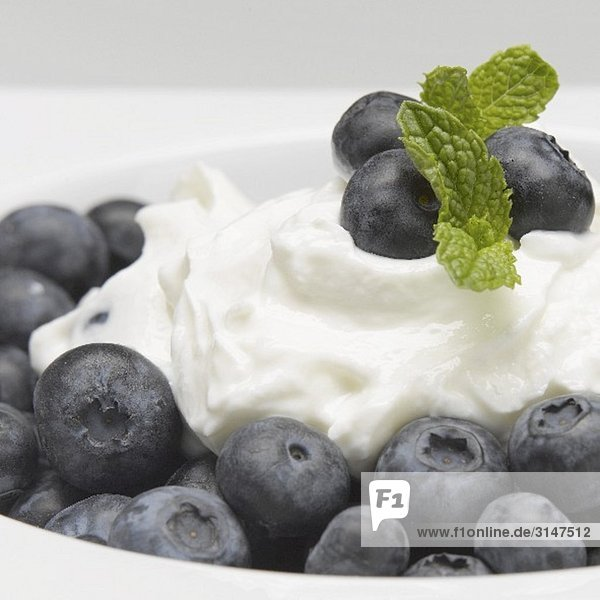 Naturjoghurt mit Heidelbeeren und Minze