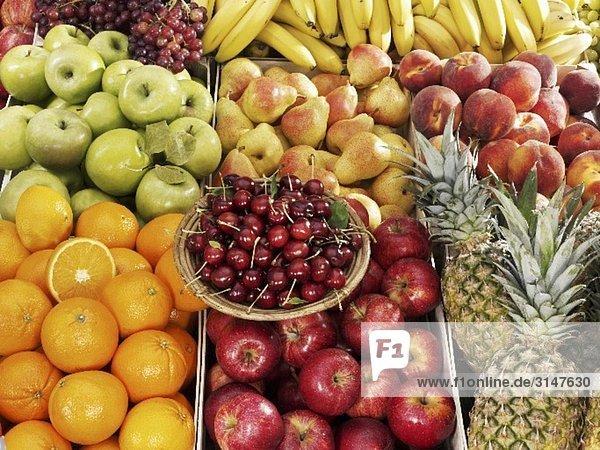 Verschiedene Früchte in Steigen  Kirschen auf Teller am Markt