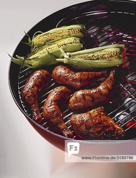 Barbecue Chicken and Corn on the Cob on the Grill