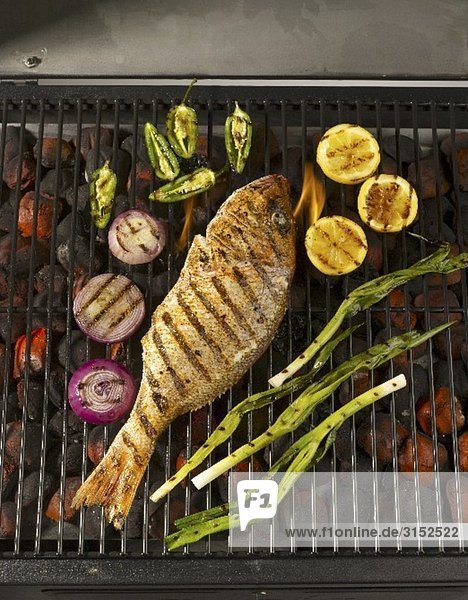 A Whole Snapper on the Grill with Lemons  Onions and Jalapenos