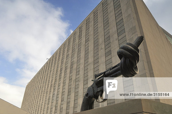 Twisted Gun sculpture by Karl Fredrik Reutersward  United Nations Building  New York City  New York
