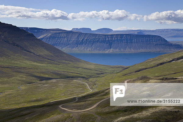 Switchback mountain road near Isafjordur  The Westfjords  Iceland