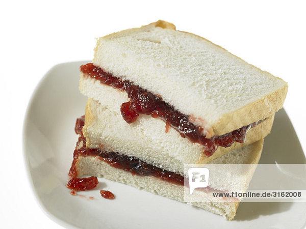 Stau Sandwich auf Weißbrot