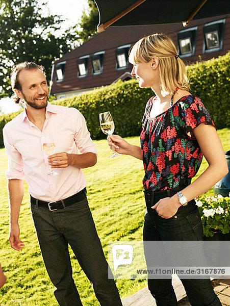 Friends having champagne  Sweden.