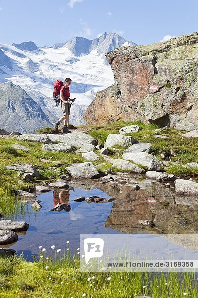 Woman hiking in the Alps  Tyrol  Austria