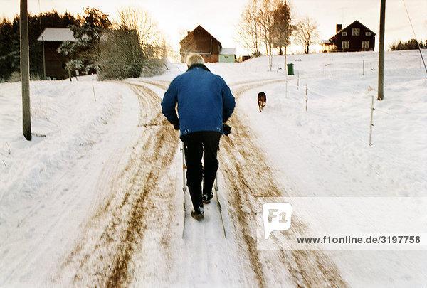 Ein Mann mit einem Kick-Schlitten und ein Hund  Schweden.