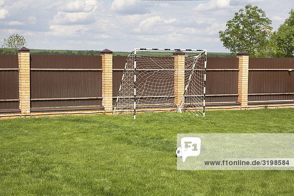 football pitch with ball and goal