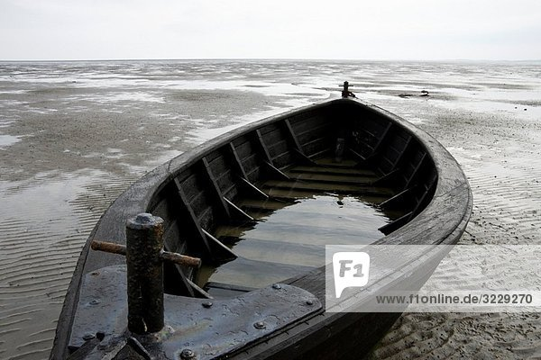 Fisher boat on the ground of Wadden Sea  eastern side of island Amrum  North Sea  Schleswig-Holstein  Germany