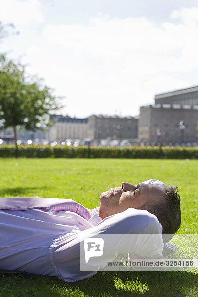 Kaufmann auf das Gras  Stockholm  Schweden.