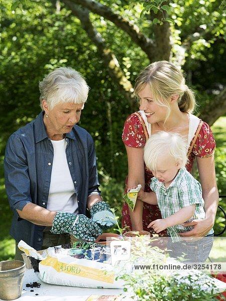 A family planting pots  Stockholm  Sweden.