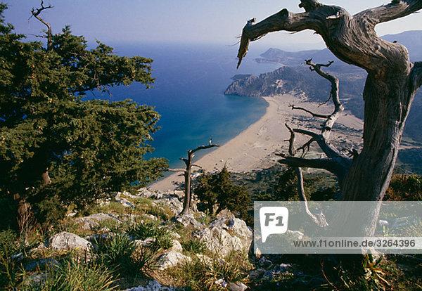 View of the Mediterranean  Tsambika  Rhodes  Greece.