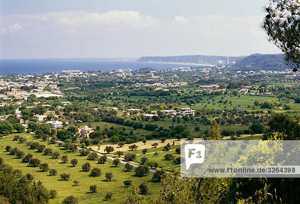 View of Trianta  Filerimos  Rhodes  Greece.