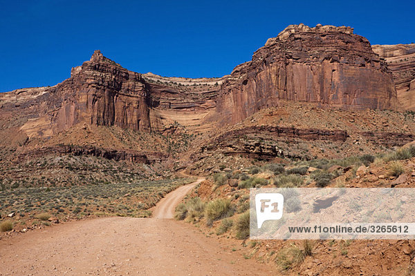 USA  Utah  Canyonlands Nationalpark  Leere Sandpiste und Felsformation
