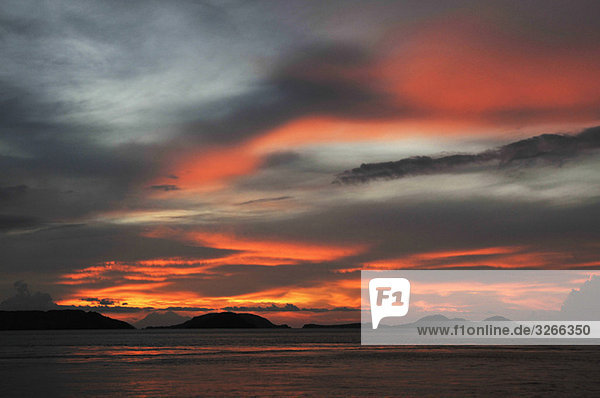 Asia  Indonesia  Sunset over Komodo Island.