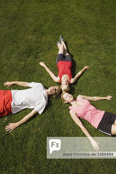 Deutschland  Berlin  Drei Personen auf dem Rasen liegend  erhöhte Ansicht