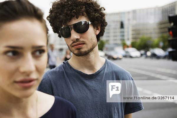 Germany  Berlin  Young couple  portrait  close-up