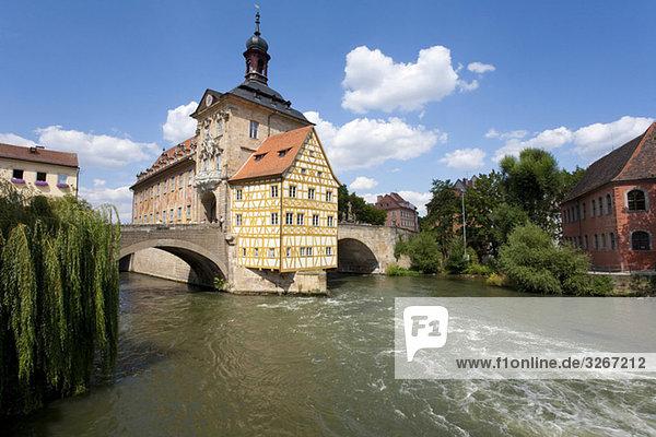 Germany  Bavaria  Franconia  Bamberg  Old City Hall over river