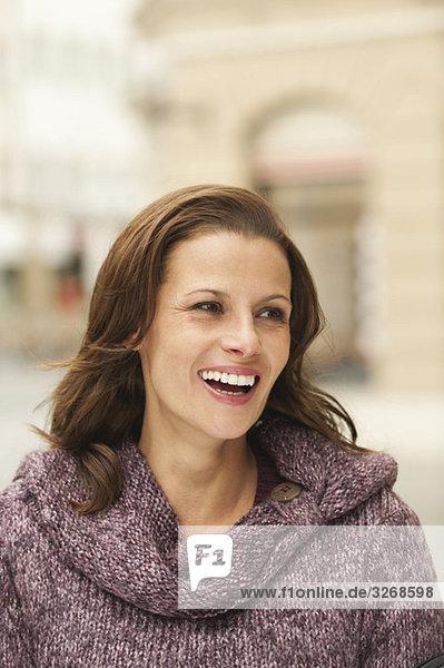 Woman laughing  portrait  close-up