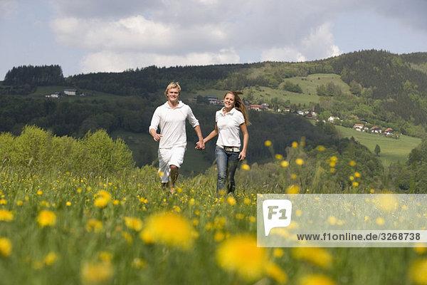 Austria  Young couple walking through meadow