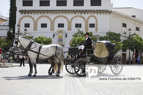 Bespannten Wagen an einem Gebäude  Sevilla  Spanien