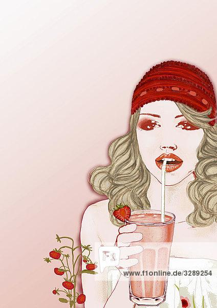 Frau trinkt einen Smoothie