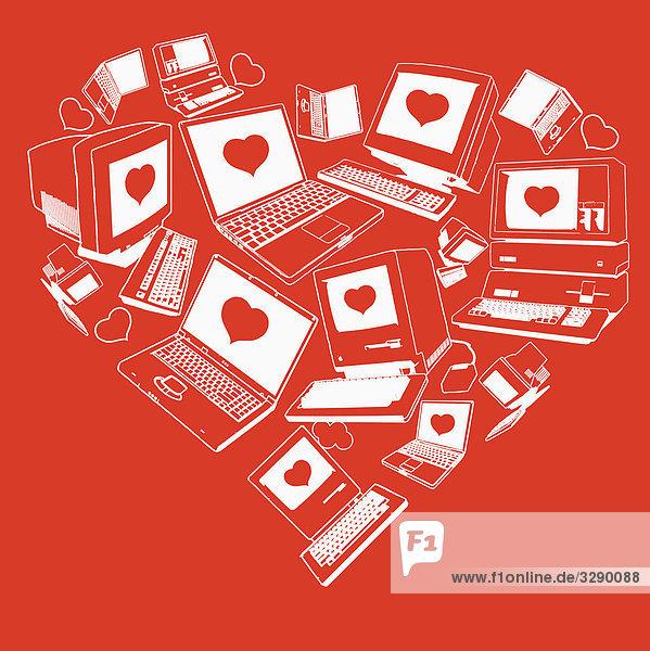 Computer mit Herzen auf dem Monitor
