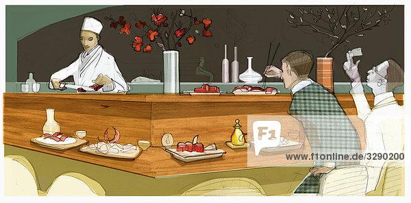 Menschen in Sushi-Restaurant