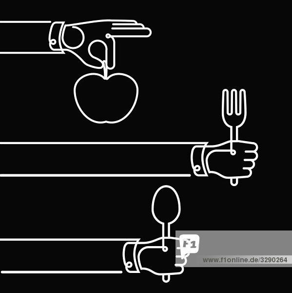 Hände halten Besteck und Apfel