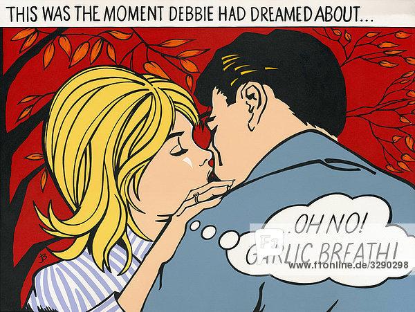 Küssendes Paar in einem Comic Küssendes Paar in einem Comic