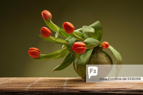 Rote Tulpen in Blumenvase