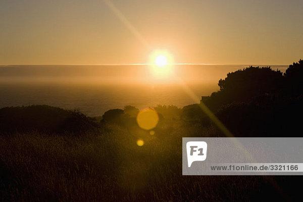 Blick auf die über dem Meer aufgehende Sonne und ein grasbewachsenes Feld