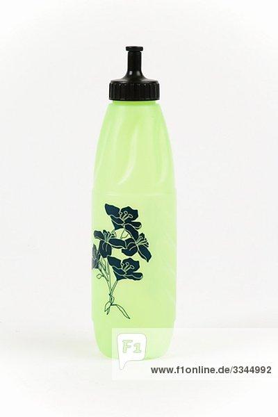 A plastic water bottle.