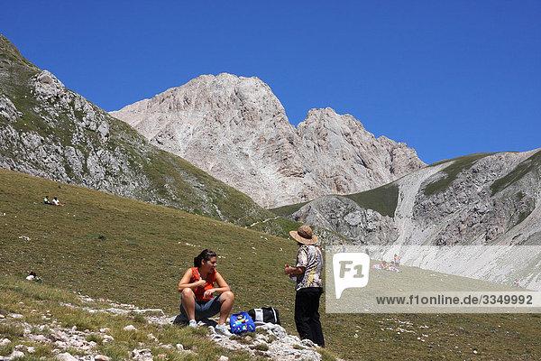 Italy  Abruzzo  Campo Imperatore plain. In the background the Corno Grande Mount  Gran Sasso and Monti della Laga national park