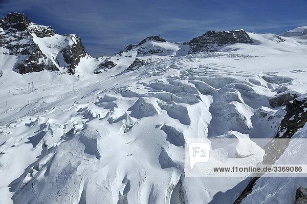 Schweiz  Saas Fee  Walliser Alpen  Berge  Schweizer  Allalinhorn  Winter  Schnee  Eis  Gletscher  Rock  Klippe  Gletscher Risse